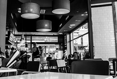 Caf (lachicadelfagot) Tags: bw white black blanco coffee cafe negro bn tables cafeteria bonbonboss