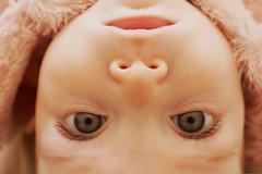 Oh my God it's full of stars! (SalTheColourGeek) Tags: portrait baby beautiful closeup canon eyes dof upsidedown 28mm symmetry manual 550d darktable