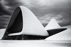 Heydar Aliyev Center #2 (momentaryawe.com) Tags: blackandwhite architecture clouds europe curves baku azerbaijan minimalist zahahadid momentaryawecom heydaraliyevcenter