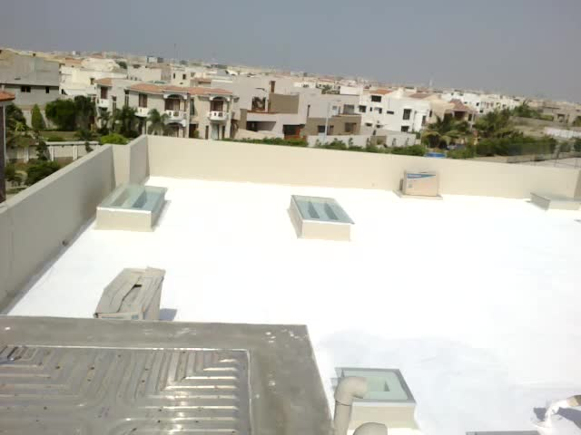 application of roof heat proofing  at DHA karachi