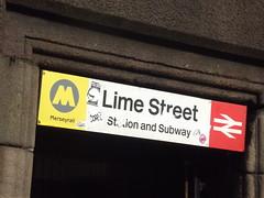 Liverpool Lime Street Station - subway sign (ell brown) Tags: greatbritain england liverpool unitedkingdom merseyside stgeorgeshall merseyrail merseytravel liverpoollimestreet liverpoollimestreetstation stgeorgesplace electrifiedrailwayline stationandsubway