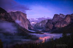 Yosemite Valley - Twilight Fog (Darvin Atkeson) Tags: snow storm fog landscape lights waterfall nationalpark twilight scenery view tunnel valley yosemite vista starlight darvin atkeson darv liquidmoonlightcom lynneal