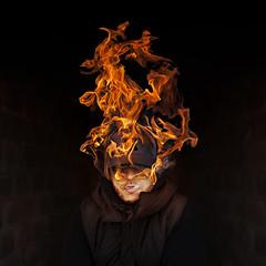 Burning Head (Cal Redback) Tags: portrait fire 50mm digitalart creative burning conceptual feu edit canon5dmarkii calredback