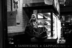 Cappuccino (stephen cosh) Tags: life street city people blackandwhite bw london sepia mono town candid streetphotography rangefinder clerkenwell reallife urbanlife humancondition blackandwhitephotos 50mmsummilux blackwhitephotos leicam9 stephencosh leicammonochrom leicamm