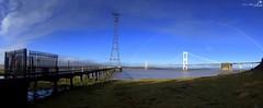 Rainbow upon Severn (AreKev) Tags: rainbow electricity mast pylon severnbridge m48 motorway aust bristolchannel severnestuary riversevern southgloucestershire england uk sonydschx20v panoramic panaromic