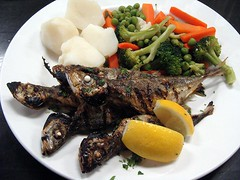 Grilled Carapau (knightbefore_99) Tags: food fish art club vancouver lunch mackerel lemon bc portuguese sardines pcov carapau commmercialdrive