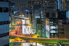 Tokyo Highways (Sandro Bisaro) Tags: auto road street city longexposure urban trafficlights cars japan canon japanese lights tokyo lowlight highway asia citys
