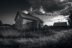 Gone (MilaMai) Tags: door light shadow wild blackandwhite bw sun house window field grass birds clouds farmhouse buildings suomi finland countryside fly flying blackwhite wooden europe crane dramatic mntyharju milamai