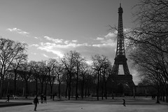 Father and son kick a soccer ball with the Eiffel Tower keeping score (Daniel Incandela) Tags: paris france europe eiffeltower fujifilm xpro1