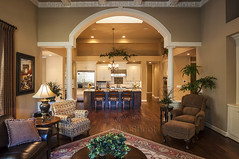 Living Room And Kitchen (weeviltwin) Tags: wood home kitchen architecture island arch furniture columns architectural livingroom architect rug flooring luxury interiordesign cabinets hardwood appliances blackwalnut cabinetry weshootcom