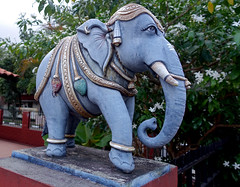 Blue Elephant (cowyeow) Tags: street travel blue sculpture elephant color art composition asian temple singapore asia indian faith religion culture belief hindu hindutemple joochiat katong blueelephant srisenpagavinayagar srisenpagavinayagartemple