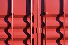 redbox (John Velasquez Photography) Tags: redbox red shippingcontainer patterns abstract shadows lines