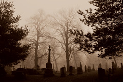 Saint James Cemetery Morning Mist .... Toronto, Ontario (Greg's Southern Ontario (catching Up Slowly)) Tags: cemetery torontocemetery nikon nikond3200 sepia sepiaphotography saintjamescemetery stjamescemetery cabbagetown mist fog mistyfog shadowsandlight