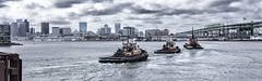Three Tugs in Line (PAJ880) Tags: tugs libert freedom justice boston towing transportation ma harbor bridge skyline boats urban waterfront