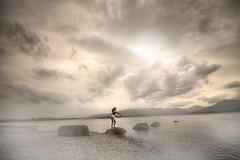 Wax On ... Wax Off || Anvi-san ! (Anir Pandit's Photo Art) Tags: light sky cloud mist art water landscape scotland surreal humour fantasy shore karatekid hdr millarochybay
