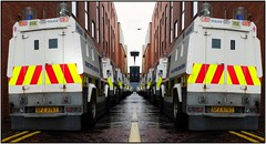 Psni landrovers in Belfast.. did someone mention G8 overkill. (teedee.) Tags: composite police belfast g8 landrovers psni