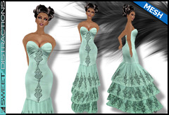 Mesh Tiered Lace Mermaid Gown in Mint (Sweet Distractions) Tags: life mesh sweet lace sl bridesmaid second gown mermaid rigged distractions