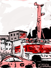 if pile drivers and cabs were pink (Catch the Noise) Tags: nyc taxi procreate piledriver ipad catchthenoise barbarajayewilson digitalfingerpainting finngrpro