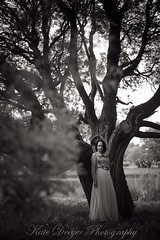 (Kate Dreyer) Tags: portrait blackandwhite tree girl monochrome standing river branches full story height