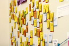 Sticky notes on the wall of the Wikimedia Foundation office