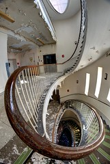 A question of time..... (Kriegaffe 9) Tags: abandoned stairs hospital spiral wooden decay steps fisheye staircase curve