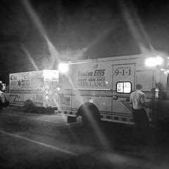 """Yes, there is a night shift! Staffed with 15 BLS and 3 ALS, but staying just as busy. This night, P5 and A5 were in West Roxbury """"assisting"""" with the delivery of a health baby boy! It was mostly A5... It was actually mostly the mom! (Boston EMS Relief Association) Tags: boston ambulance medical emergency medic paramedic ems emt services"""