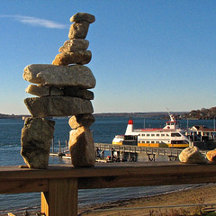 peaks.island  inukshuk.ferry (origamidon) Tags: sculpture usa home me square portland dock view piers maine bluesky quartz sq inukshuk rocksculpture peaksisland cumberlandcounty cascobayferry origamidon donshall peaksislandmaineusa 04108