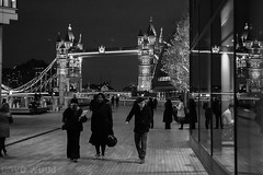 South Bank and Tower Bridge, London (Dave Wood Liverpool Images) Tags: blackandwhite london night southbank riverthames