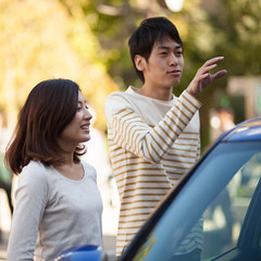Young couple standing nearby a blue car (Apricot Cafe) Tags: male smiling japan female asian japanese togetherness cafe couple internet young lifestyle happiness wireless casual f18 relaxation portlait istockalypse tokyo modelshooting canonef85mmf18usm modelreleaseready artschiyoda33313331 img544128