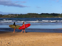 Surfers (BigBean) Tags: girls sunset beach hawaii surfer surfing surfboard kauai hanalei northcoast
