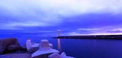 Phare rouge et sémaphore de Leucate (Amanclos) Tags: longexposure lighthouse france night clouds cloudy ngc nuages aude nuit phare panoroma nuageux longueexposition portlanouvelle efs1022 canoneos700d