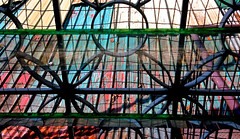 Hospital Window (mikeeliza) Tags: city pink blue roof red flower building green public architecture hospital circle tin iron union shapes manila grating multicolors oval mikeeliza