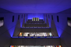 Budapest Metro line 4 - Moricz Zsigmond korter station 2 (Romeodesign) Tags: blue light colors station architecture underground subway gg hungary metro 4 escalator budapest perspective greenline m4 futuristic rubik moricz 550d móricz zsigmond körtér