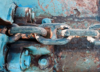 Blue paint with a touch of rust.