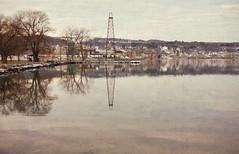 Wintry Morning on Seneca (LJS74) Tags: senecalake fingerlakes watkinsglen newyorkstate lake water reflection winter wintry landscape nature sepia oldphoto