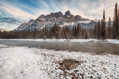 Morning at Castle Mountain (ScottBennie) Tags: sunrise winter nature mountains snow trees castlemountain scenery landscape alberta banffnationalpark outdoors canada bowriver scenic hiking banff