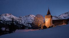 Louene (Mopple Labalaine) Tags: lauenen berneroberland bernesehighlands bern kirche church night bluehour alps alpen louene
