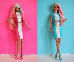 Pink & Blue (kingkevin) Tags: ooak misaki nipponmisaki dress pattern freepattern dollpattern barbie 16 fashion croptop pencilskirt holographic pink blue crazy honey