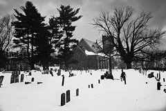 DR1-056-26A (David Swift Photography Thanks for 21 million view) Tags: davidswiftphotography philadelphia mtairy churches graveyards snow cemeteries winter holyplaces historiccemeteries historicchurches cemeteriesinthesnow winterscene 35mm film lutherans yashicat4 ilfordxp2