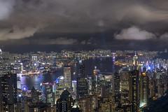 Skyward growth (Wajahat Mahmood) Tags: hongkong metropolitan asia buildings symphonyoflights lasershow victoriapeak urban rainy lights skyscrapers reflection aerial nikond810 googlenik