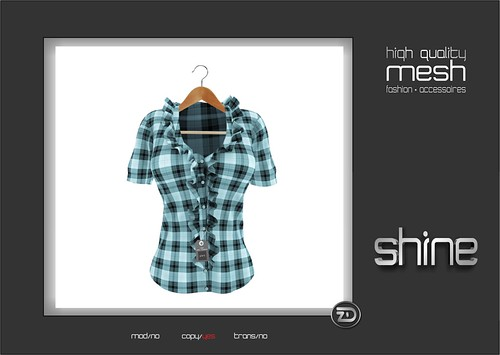 shine by [ZD] - Mesh Short Sleeves Frilly Plaid Blouse