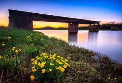 Old bridge (Morten_Iversen) Tags: bridge sunset sky mountain nature water norway canon river landscape eos evening norge ruin norwegen filter 7d nd scandinavia morten jren rogaland iversen h ogna fylke