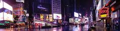 Wet Night in Times Square (pano) (Eric Kilby) Tags: nyc newyorkcity winter panorama reflection wet night lights stitch pano rainy timessquare