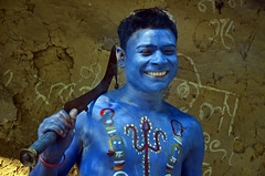 Butcher's Smile (TarunKumarBhattacharya) Tags: street blue portrait india smile facepainting goddess festivals streetphotography gajan