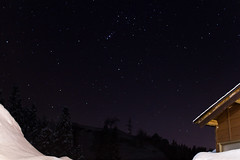 Niigata sky #2 (bro-mark) Tags: roof winter sky mountain snow mountains ice rooftop japan train stars star rice paddy indoor nightsky niigata ricefield constellation tanada