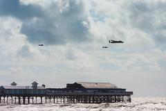 Blackpool Pier (JessTheGinger) Tags: ocean sea sky sun water bar clouds plane pier flying waves aviation flight sunny planes colourful blackpool aeroplanes enalgnd