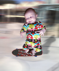 Skateboarding baby (Studio Skwit) Tags: park shadow test baby art colors speed photoshop wow studio children fun photo kid crazy google cool nice jump jumping flickr experimental child skateboarding experiment manipulation special tricks skatepark skate steven trick easy try effect facebook wooow twitter startcafe skwit studioskwit stevensquid