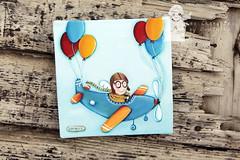 Little aviator angel (Les Chrubins) Tags: blue original boy cute beautiful hat angel plane balloons airplane little angels aviator whimsical nurseryroom angelpainting nurseryart lescherubins dominikabozic