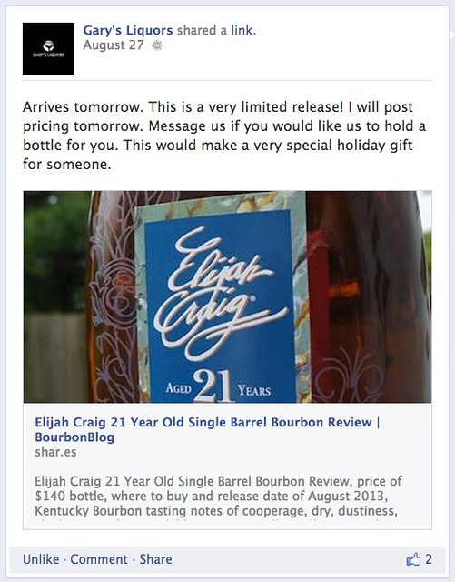 Gary's Liquors: Elijah Craig Aged 21 Years