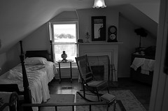 Retreat (MPnormaleye) Tags: bw abandoned window monochrome blackwhite bed bedroom chair fireplace shadows rustic wideangle exhibit textures utata museums rugs greyscale mantel bwmonochrome